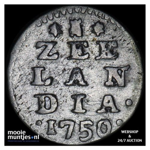 Zeeland - Dubbele wapenstuiver - 1750 (kant A)