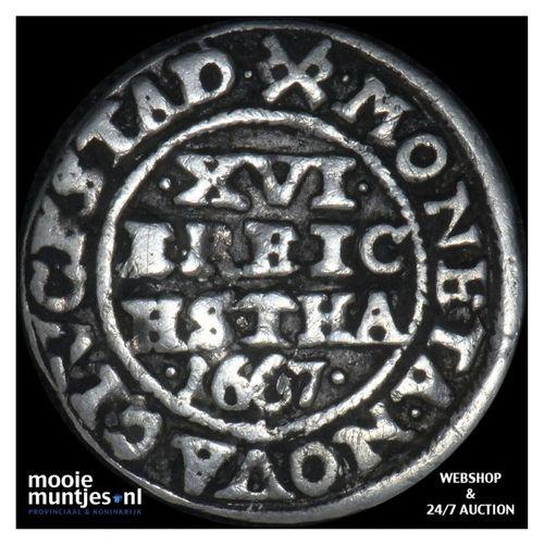1/16 speciedaler (3 skilling lybsk) - Denmark 1667 (KM 54.1) (kant A)