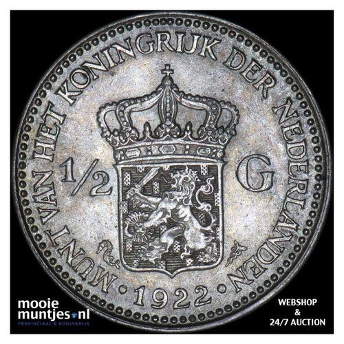 ½ gulden - Wilhelmina - 1922 (kant A)