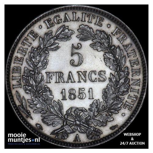 5 francs - France 1851 A (Paris) (KM 761.1) (kant A)