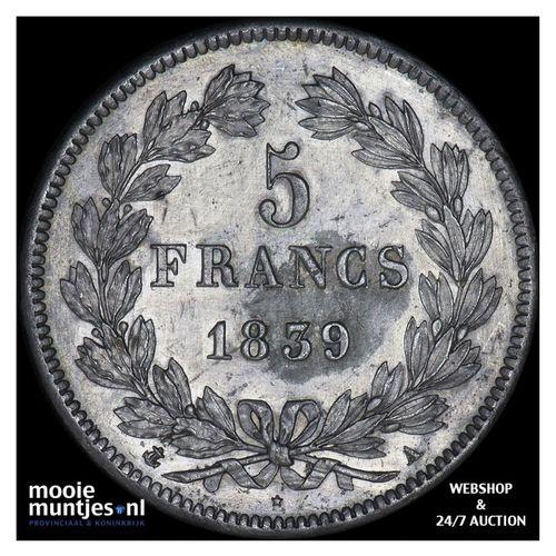 5 francs - France 1839 A (Paris) (KM 749.1) (kant A)