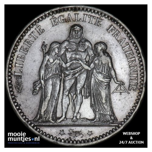 5 francs - France 1873 A (Paris) (KM 820.1) (kant B)