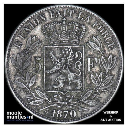 5 francs (5 frank) - Belgium 1870 (KM 24) (kant A)
