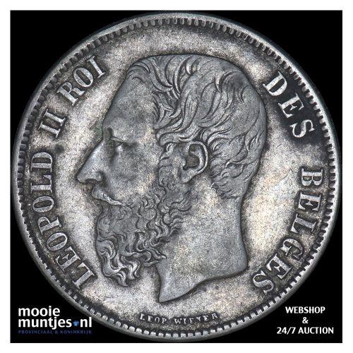 5 francs (5 frank) - Belgium 1870 (KM 24) (kant B)