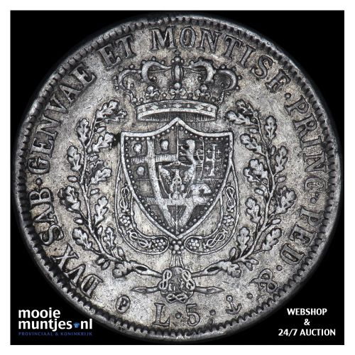 5 lire - mainland reform coinage - Italian States/Sardinia 1827 (KM 116.2) (kant