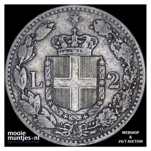 2 lire - Italy 1881 (KM 23) (kant B)