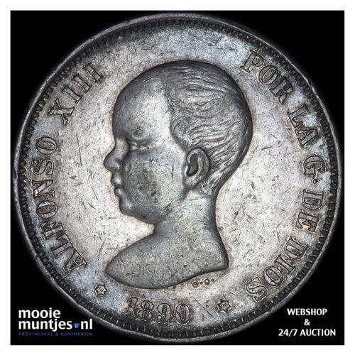 5 pesetas - third decimal coinage - Spain 1890 (90) MP-M (KM 689) (kant A)
