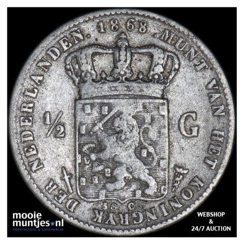 ½ gulden - Willem III - 1868 (kant A)