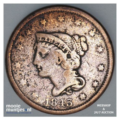 cent - braided hair - United States of America/Circulation coinage 1843 (KM 67)