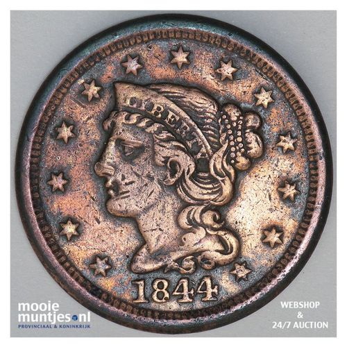 cent - braided hair - United States of America/Circulation coinage 1844 (KM 67)