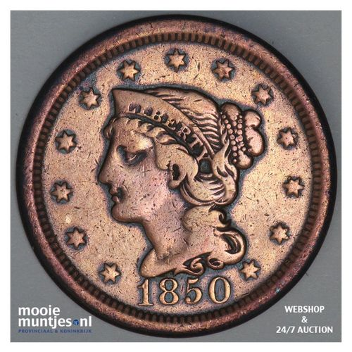 cent - braided hair - United States of America/Circulation coinage 1850 (KM 67)