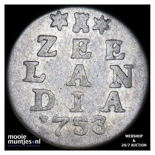 Zeeland - Dubbele wapenstuiver - 1753 (kant A)