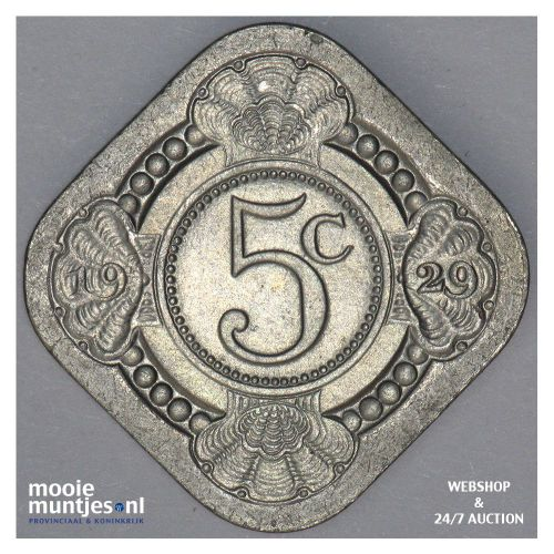 5 cent - Wilhelmina - 1929 (kant A)