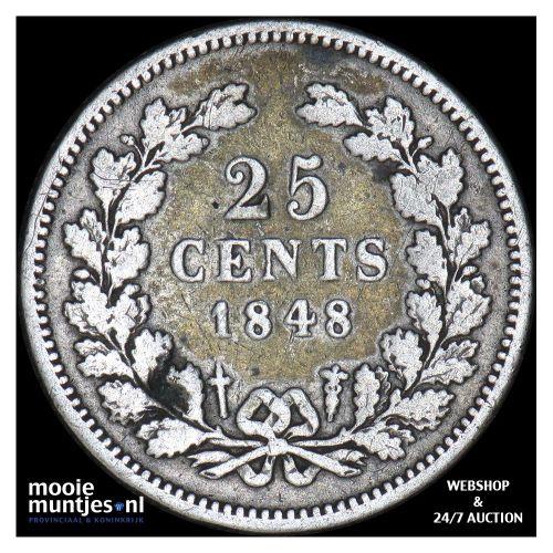 25 cent - Willem II - 1848 b (zonder punt) (kant A)