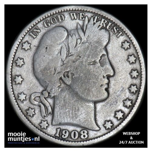 half dollar - barber - United States of America 1908 O (KM 116) (kant A)