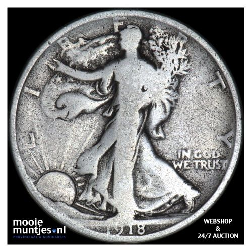 half dollar - walking liberty - United States of America 1918 D (KM 142) (kant A