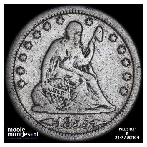 quarter - seated liberty - United States of America/Circulation coinage 1855 S (