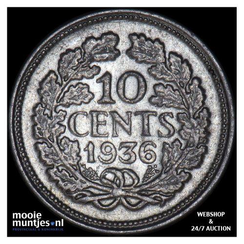 10 cent - Wilhelmina - 1936 (kant A)