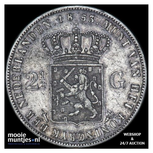2½ gulden - Willem III - 1853 over 52 (kant A)
