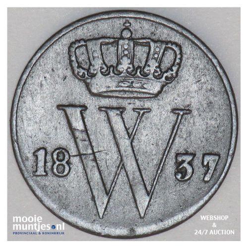 ½ cent - Willem I - 1837 (kant A)