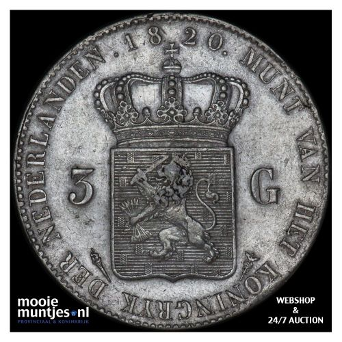 3 gulden - Willem I - 1820 Utrecht (kant A)
