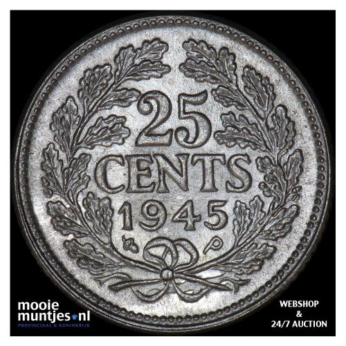 25 cent - Wilhelmina - 1945 EP (kant A)