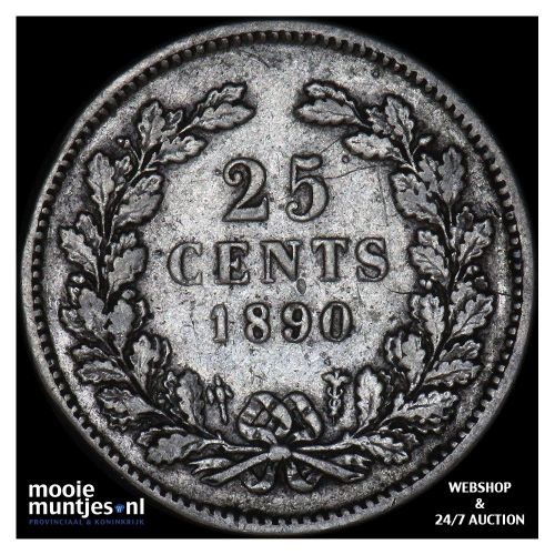 25 cent - Willem III - 1890 b (zonder punt) (kant A)