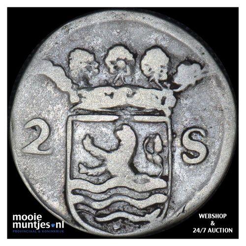 Zeeland - Dubbele wapenstuiver - 1704 (kant B)