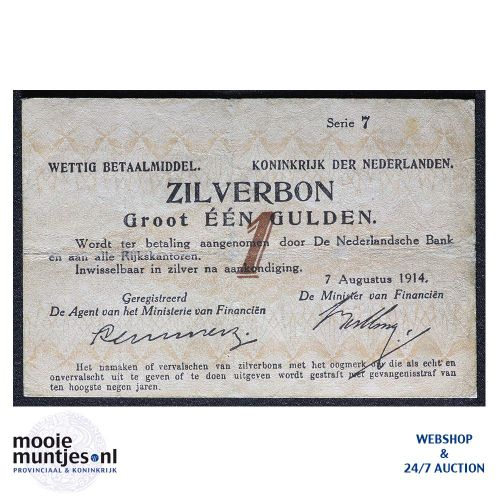1 gulden - 1914 (Mev. 01-1a / AV 1) (kant A)