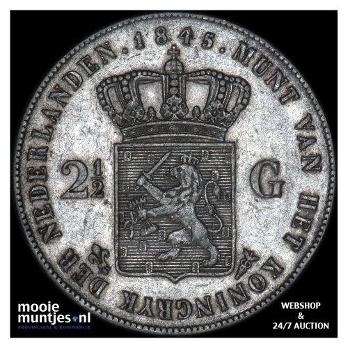 2½ gulden - Willem II - 1845 b (streepje) (kant A)