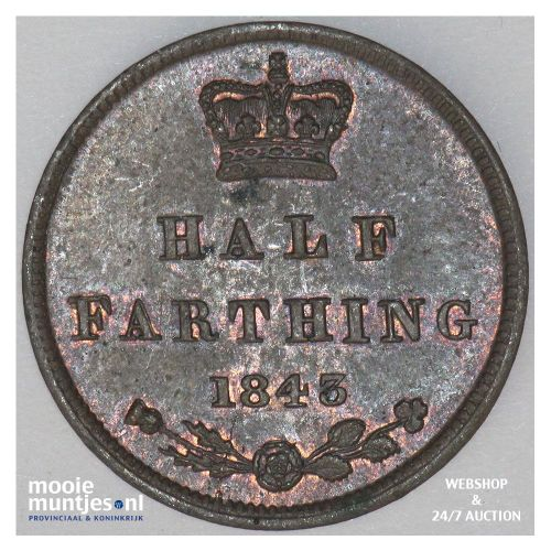 1/2 farthing - Great Britain 1843 (KM 738) (kant A)