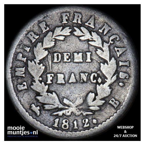 1/2 franc - France 1812 B (Rouen) (KM 691.2) (kant A)
