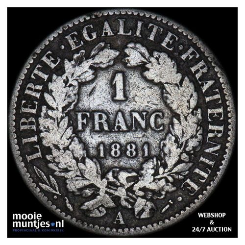 franc - France 1881 A (Paris) (KM 822.1) (kant A)