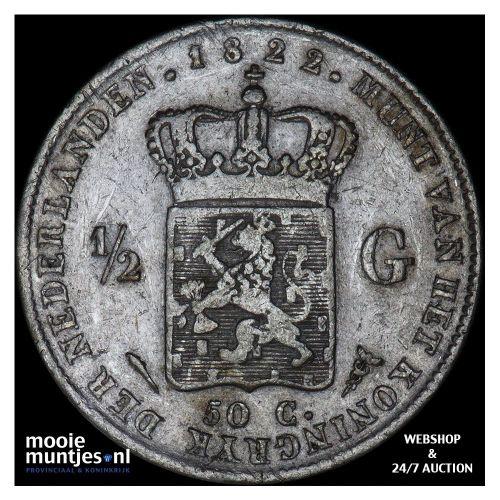 ½ gulden - Willem I - 1822 a Utrecht (kant A)