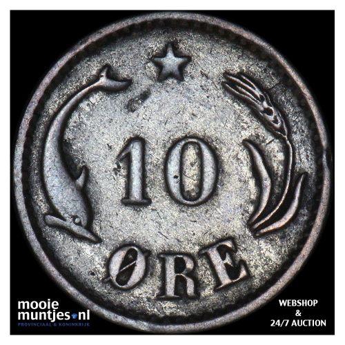 10 ore - Denmark 1886 (KM 795.1) (kant B)