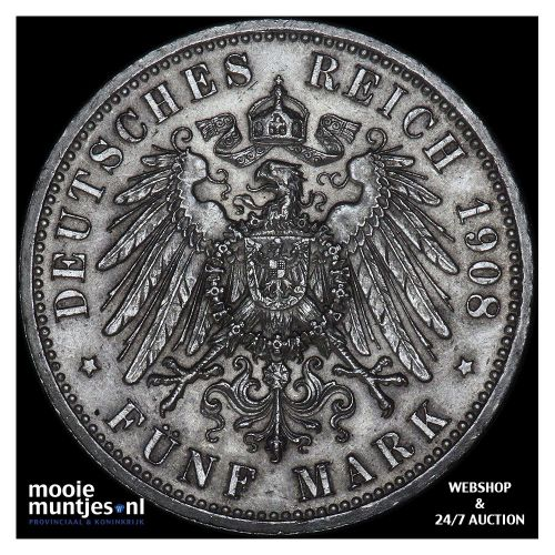 5 mark - German States/Saxe-Weimar-Eisenach 1908 (KM 220) (kant B)