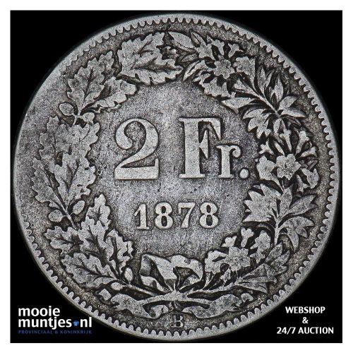 2 francs - Switzerland 1878 (KM 21) (kant A)