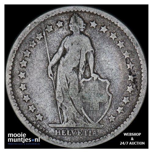 2 francs - Switzerland 1878 (KM 21) (kant B)