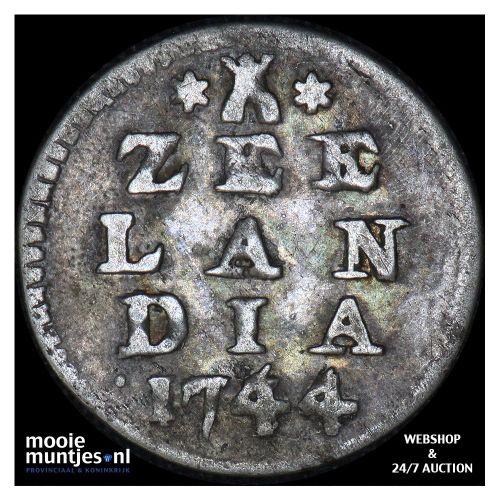 Zeeland - Dubbele wapenstuiver - 1744 over 36 (kant A)