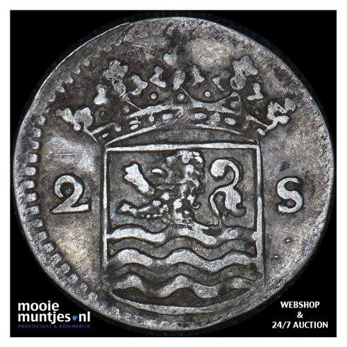 Zeeland - Dubbele wapenstuiver - 1744 over 36 (kant B)