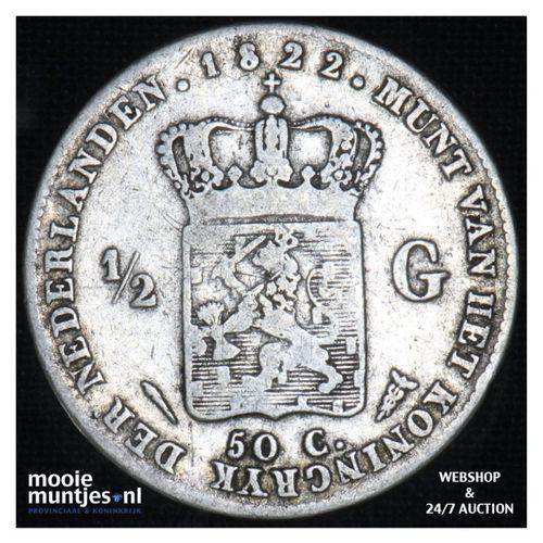 ½ gulden - Willem I - 1822 b Utrecht  (kant A)