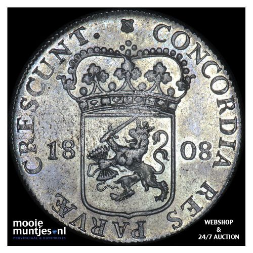 Zilveren dukaat of rijksdaalder - Lodewijk Napoleon - 1808 (kant A)