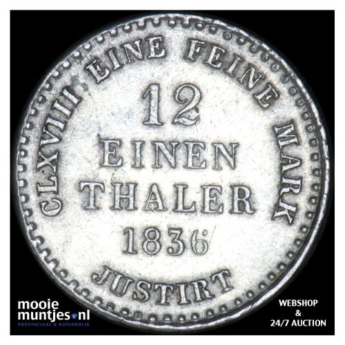 1/12 thaler (3 mariengroschen) - German States/Hannover 1836 (KM 159) (kant A)