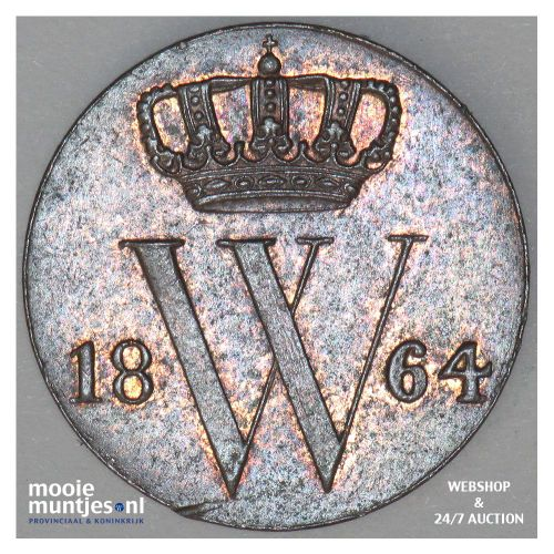 ½ cent - Willem III - 1864 (kant A)