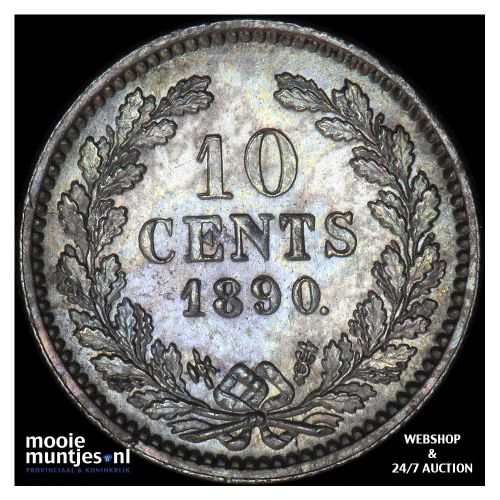 10 cent - Willem III - 1890 (kant A)
