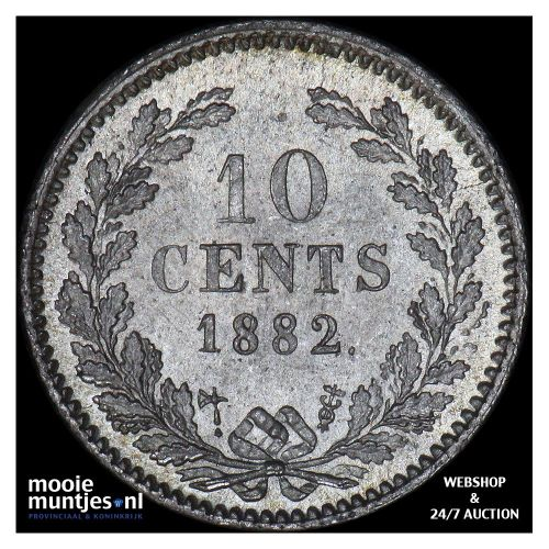 10 cent - Willem III - 1882 (kant A)