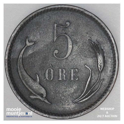 5 ore - Denmark 1890 (KM 794.1) (kant B)
