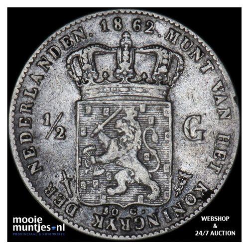 ½ gulden - Willem III - 1862 (kant A)