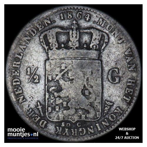 ½ gulden - Willem III - 1864 (kant A)