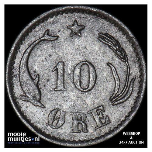 10 ore - Denmark 1884 (KM 795.1) (kant B)
